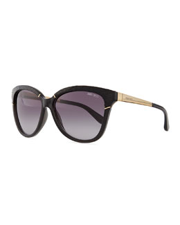 Ines Frame-Wrapped Sunglasses, Black