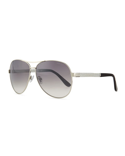 Lexi Aviator Sunglasses with Crystal Temples, Palladium