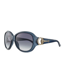 Diamantissima Butterfly Sunglasses, Blue