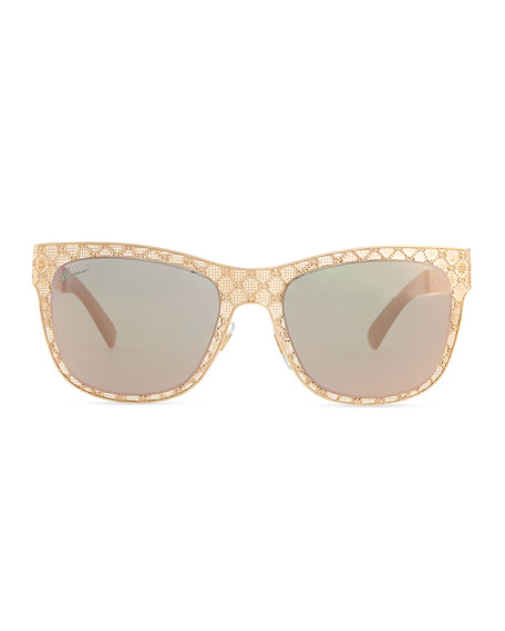 Mirrored GG Texture Sunglasses, Copper