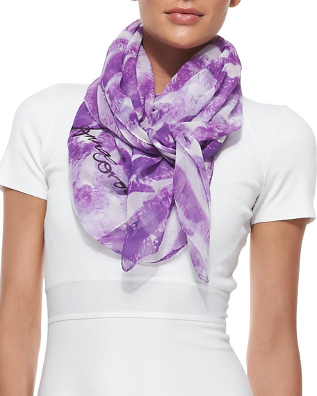 Kisses Lip-Print Chiffon Scarf, Purple/White