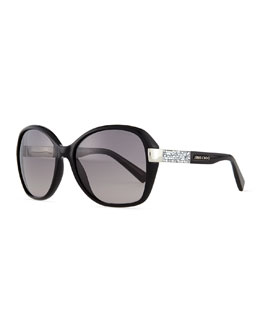 Alana Round Butterfly Sunglasses, Black