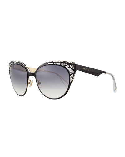 Estelle Lace-Pattern Cat-Eye Sunglasses, Black