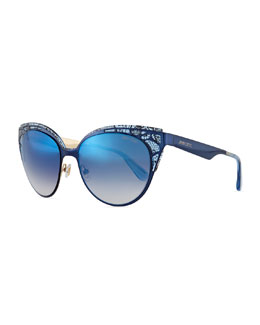 Estelle Lace-Pattern Cat-Eye Sunglasses, Blue