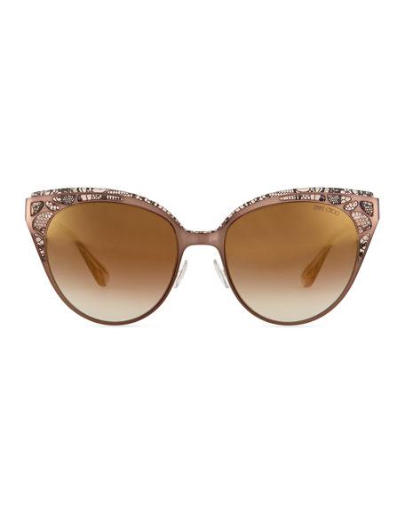 7c973996bc2 Jimmy Choo Estelle Lace-Pattern Cat-Eye Sunglasses