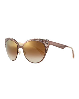 Estelle Lace-Pattern Cat-Eye Sunglasses, Brown