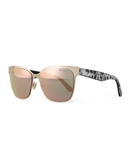 Mirror Logo-Temple Sunglasses, Brown