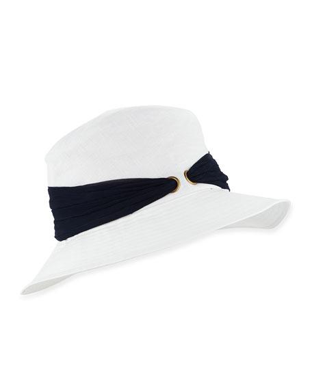 Jordana Linen Bucket Hat w/Silk Sash, Ivory/Black