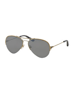 Metal Aviator Sunglasses, Light Gold/Gray