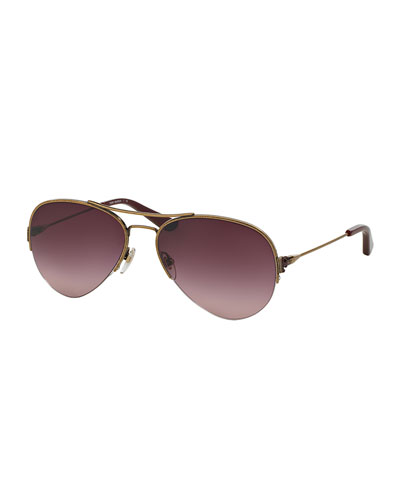 Metal Aviator Sunglasses, Light Gold/Plum