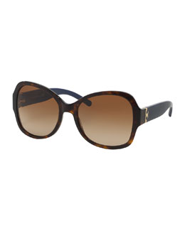 Plastic Butterfly Sunglasses, Havana/Navy