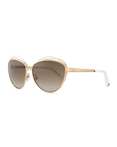 Golden Metal Butterfly Sunglasses with Wire, White/Pink