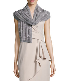 Beaded Shell-Pattern Wrap, Gray