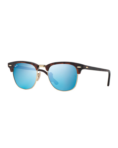 Clubmaster Sunglasses with Blue Mirror Lens, Havana