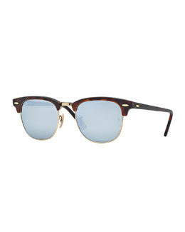 Ray-Ban Clubmaster® Sunglasses with Silver Mirror Lens, Havana