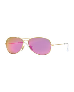 Ray-Ban Aviator Sunglasses with Red Mirror Lens, Golden