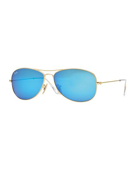 Aviator Sunglasses with Blue Mirror Lens, Golden
