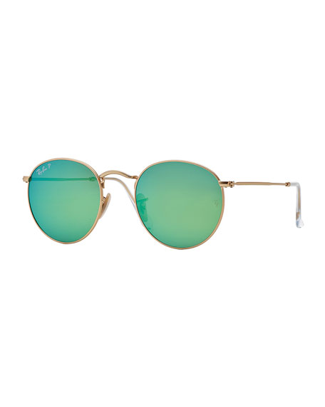Polarized Round Metal-Frame Sunglasses with Green Mirror Lens
