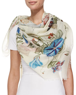 Flora Knight Shawl, White