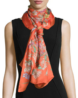 Bloole Silk Scarf/Stole, Orange/Brown