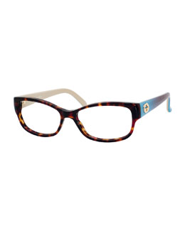 Rectangle Fashion Glasses with Ombre Arms, Havana/Blue