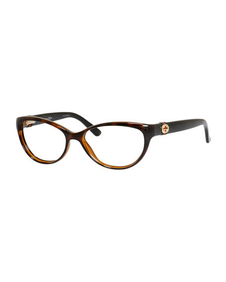 5bb66a7100192 Gucci Cat-Eye Fashion Glasses with Web and Interlocking G