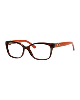 Rectangle Fashion Glasses with Web and Interlocking G, Brown/Red