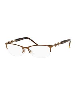 Chain-Detail Half-Rim Fashion Glasses, Chocolate