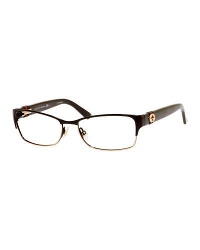 Gucci Half-Rim Fashion Glasses with Web and Interlocking G ...