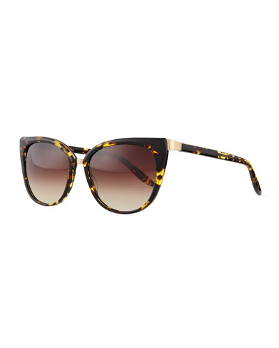 Ronette Cat-Eye Tortoise Sunglasses, Brown