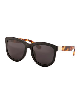Square Tortoise-Arm Sunglasses, Black