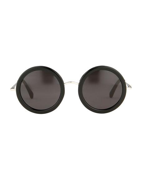 Round Circle Sunglasses, Black