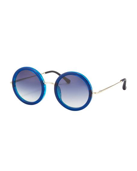 Round Circle Sunglasses, Blue