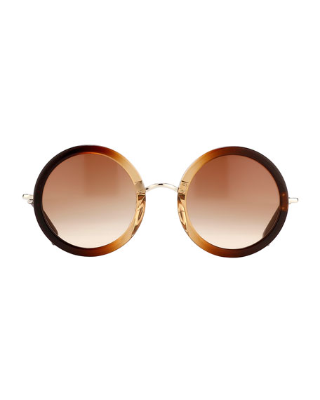 Ombre Round Circle Sunglasses, Brown
