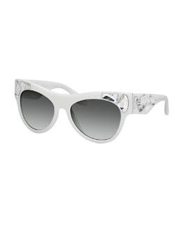 Prada Jeweled Cat-Eye Lenses, Ivory/Clear