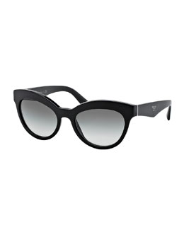 Acetate Cat-Eye Sunglasses, Black