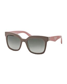 Prada Square Sunglasses, Beige/Pink