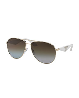 Aviator Sunglasses, Ivory/Light Gold