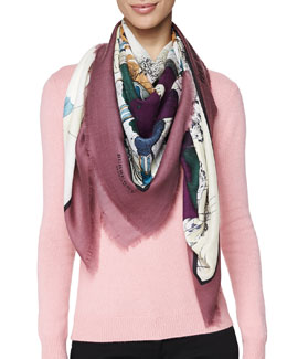 Burberry Prorsum Cashmere Very Unpleasant Weather Scarf, Dusty Cherry