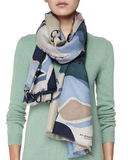 Burberry Prorsum Cashmere Illustrated Stories Scarf, Ash Rose