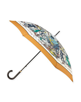 Burberry Prorsum Cats & Dogs Printed Walking Umbrella, Copper/Orange