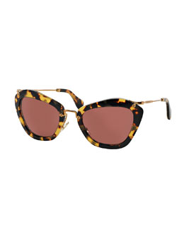 Cat-Eye Sunglasses, Yellow Havana