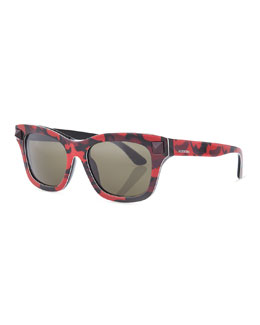 Valentino Camo-Rockstud Sunglasses, Red