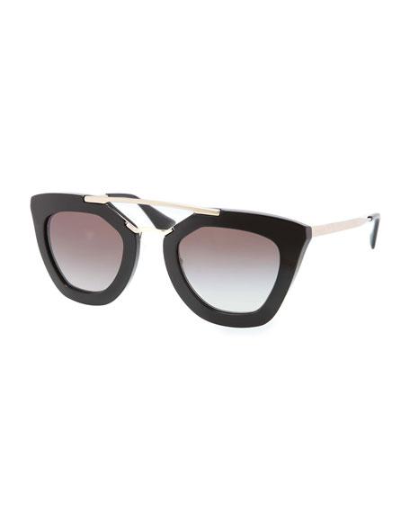 Cat-Eye Double-Bridge Sunglasses, Black