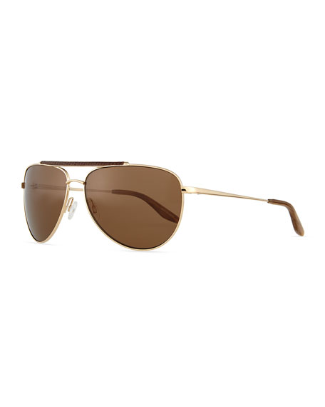 Breed Leather-Detail Polarized Aviator Sunglasses, Golden