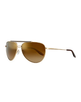 Breed Leather-Detail Mirrored Polarized Aviator Sunglasses, Golden/Old English