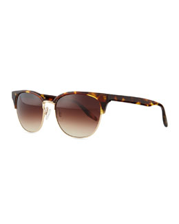Camden Semi-Rimless Square Sunglasses, Havana/Golden