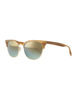 Camden Mirror Semi-Rimless Square Sunglasses, Horn/Golden