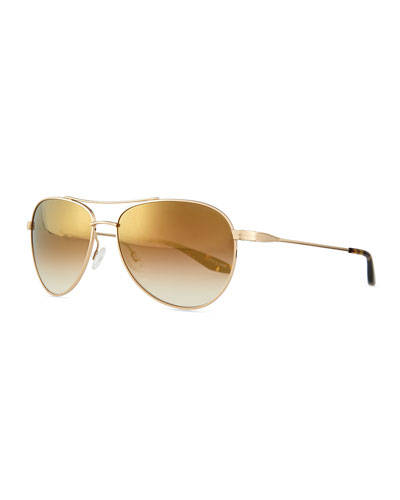 Universal Fit Lovitt Mirror Aviator Sunglasses, Golden