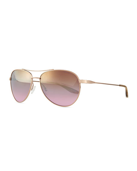 Universal Fit Lovitt Mirror Aviator Sunglasses, Rose Golden